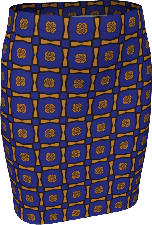 The Jacqueline Fitted Skirt in Navy and Ochre