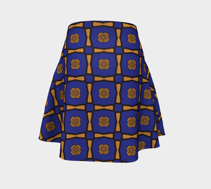 The Jacqueline Flare Skirt in Navy and Ochre-Clash Patterns