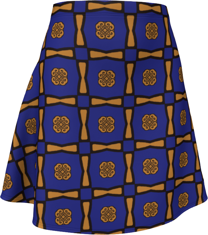 The Jacqueline Flare Skirt in Navy and Ochre
