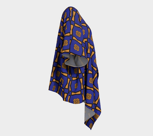 The Jacqueline Kimono in Navy and Ochre-Clash Patterns