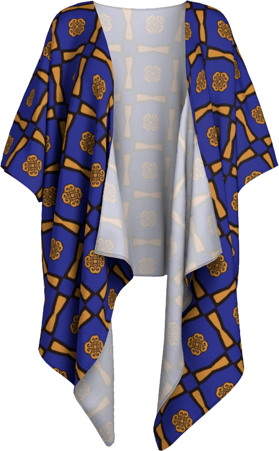 The Jacqueline Kimono in Navy and Ochre