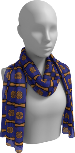 The Jacqueline Long Scarf in Navy and Ochre-Long Scarf-Clash Patterns by Jennifer Akkermans