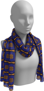 The Jacqueline Long Scarf in Navy and Ochre