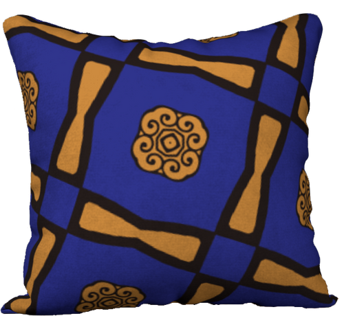 The Jacqueline Reversible Pillow in Navy and Ochre-18
