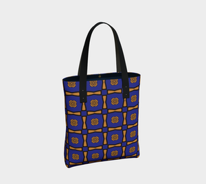 The Jacqueline Tote Bag in Navy and Ochre-Clash Patterns