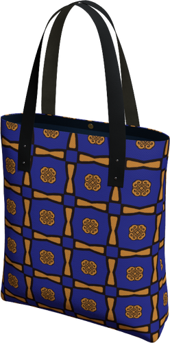 The Jacqueline Tote Bag in Navy and Ochre-Tote Bag-Clash Patterns by Jennifer Akkermans