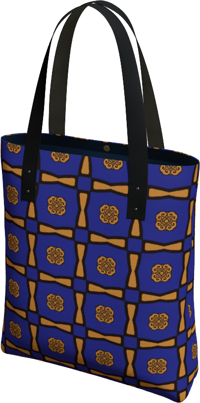 The Jacqueline Tote Bag in Navy and Ochre