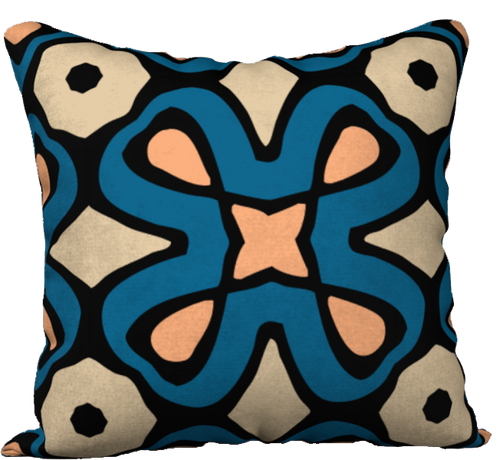 The Jane Reversible Pillow in Blue and Beige-18