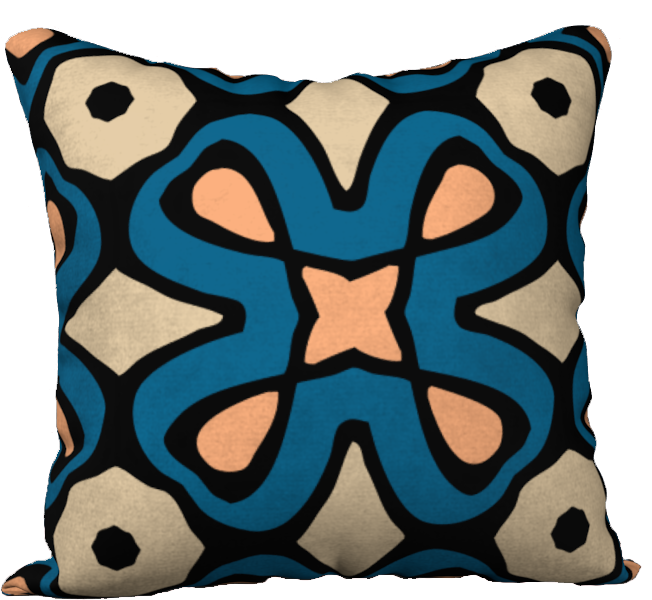 The Jane Reversible Pillow in Blue and Beige