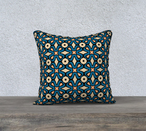 The Jane Reversible Pillow in Blue and Beige-Clash Patterns