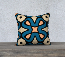 Load image into Gallery viewer, The Jane Reversible Pillow in Blue and Beige-Clash Patterns