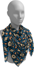 Load image into Gallery viewer, The Jane Square Scarf in Blue and Beige