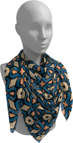 The Jane Square Scarf in Blue and Beige-Square Scarf-Clash Patterns by Jennifer Akkermans