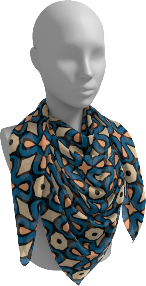 The Jane Square Scarf in Blue and Beige