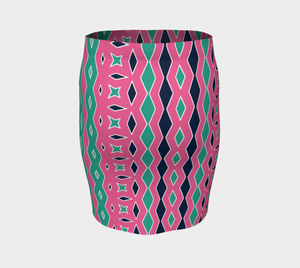 The Janelle Fitted Skirt in Watermelon-Clash Patterns