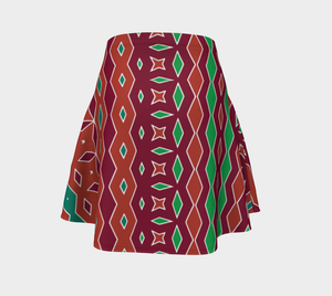 The Janelle Flare Skirt in Sienna-Clash Patterns