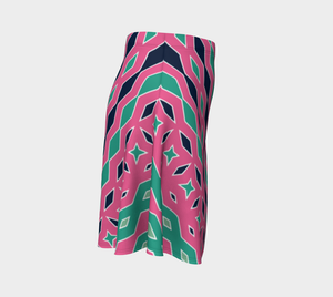 The Janelle Flare Skirt in Watermelon-Clash Patterns