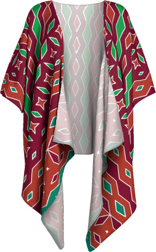 The Janelle Kimono in Sienna-Draped Kimono-Clash Patterns by Jennifer Akkermans