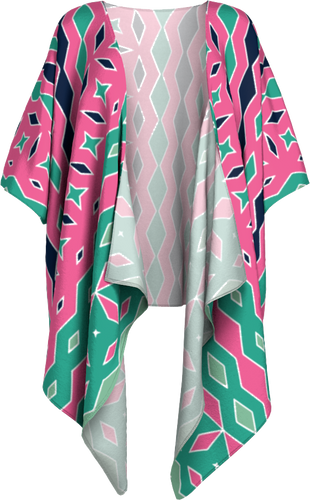 The Janelle Kimono in Watermelon-Draped Kimono-Clash Patterns by Jennifer Akkermans