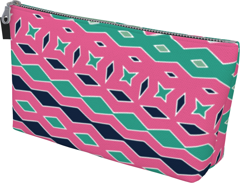 The Janelle Makeup Bag in Watermelon-Makeup Bag-Clash Patterns by Jennifer Akkermans