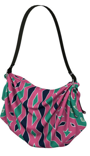 The Janelle Origami Bag in Watermelon-Origami Tote-Clash Patterns by Jennifer Akkermans