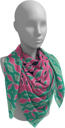 The Janelle Square Scarf in Watermelon-Square Scarf-Clash Patterns by Jennifer Akkermans