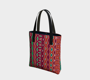 The Janelle Tote Bag in Sienna-Clash Patterns
