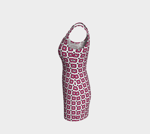 The Jennifer Fitted Dress in Raspberry-Clash Patterns