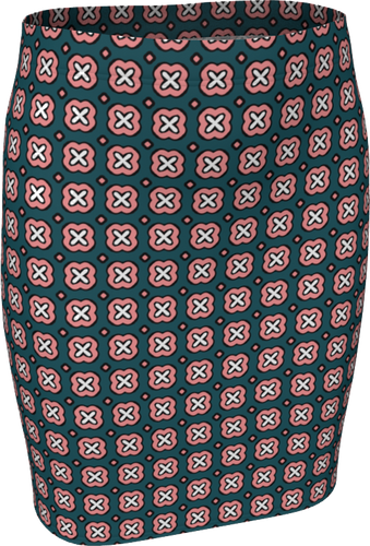 The Jennifer Fitted Skirt in Green and Pink-Fitted Skirt-Clash Patterns by Jennifer Akkermans