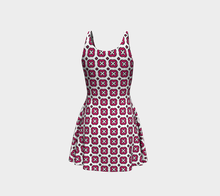 Load image into Gallery viewer, The Jennifer Flare Dress in Raspberry-Clash Patterns