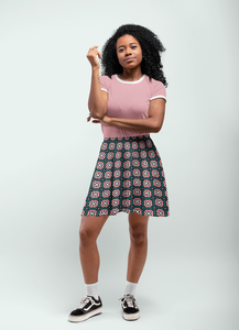 The Jennifer Flare Skirt in Green and Pink-Clash Patterns