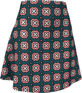 The Jennifer Flare Skirt in Green and Pink