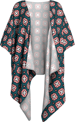 The Jennifer Kimono in Green and Pink-Draped Kimono-Clash Patterns by Jennifer Akkermans