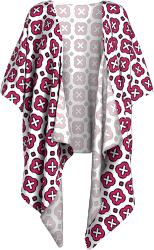 The Jennifer Kimono in Raspberry-Draped Kimono-Clash Patterns by Jennifer Akkermans