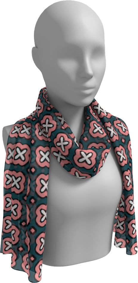 The Jennifer Long Scarf in Pink and Green-Long Scarf-Clash Patterns by Jennifer Akkermans