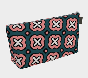 The Jennifer Makeup Bag in Green and Pink-Clash Patterns