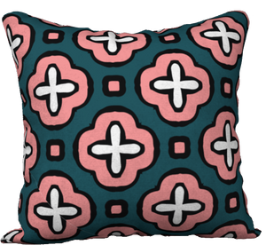 The Jennifer Reversible Pillow in Pink and Green