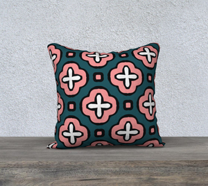 The Jennifer Reversible Pillow in Pink and Green-Clash Patterns