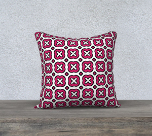 The Jennifer Reversible Pillow in Raspberry-Clash Patterns