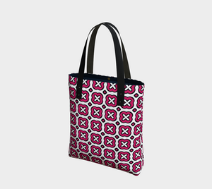 The Jennifer Tote Bag in Raspberry-Clash Patterns