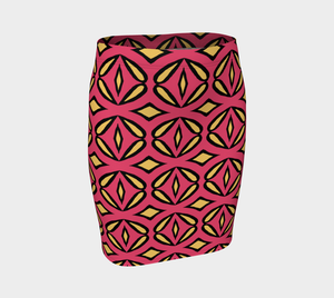 The Julie Fitted Skirt in Pink and Yellow-Clash Patterns