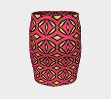 Load image into Gallery viewer, The Julie Fitted Skirt in Pink and Yellow-Clash Patterns