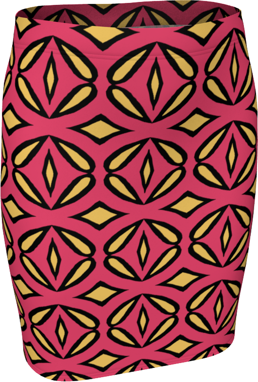 The Julie Fitted Skirt in Pink and Yellow