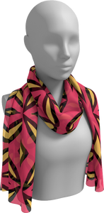 The Julie Long Scarf in Pink and Yellow-Long Scarf-Clash Patterns by Jennifer Akkermans