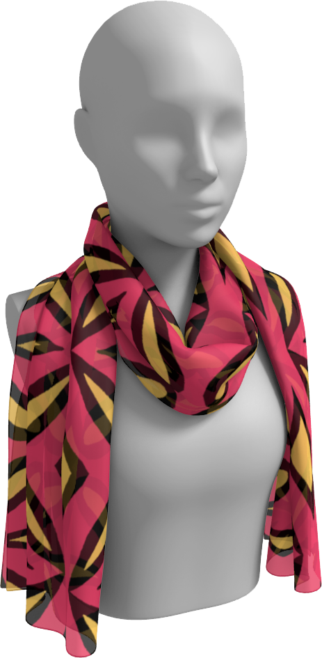 The Julie Long Scarf in Pink and Yellow