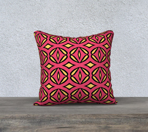 The Julie Reversible Pillow in Pink and Yellow-Clash Patterns