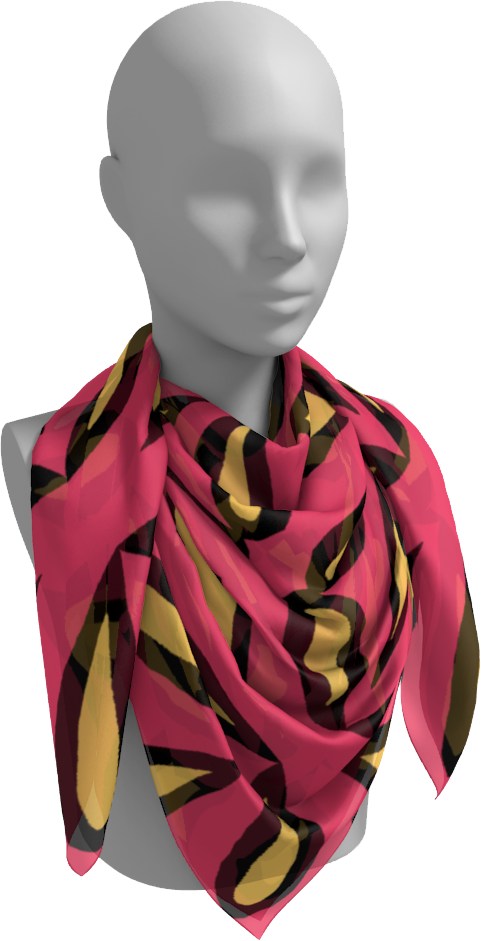 The Julie Square Scarf in Pink and Yellow-Square Scarf-Clash Patterns by Jennifer Akkermans