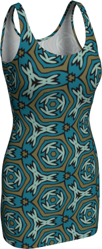 The Kylie Fitted Dress-Bodycon Dress-Clash Patterns by Jennifer Akkermans