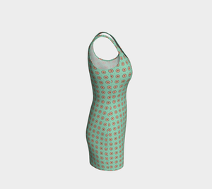 The Lindsay Fitted Dress in Mint and Peach-Clash Patterns