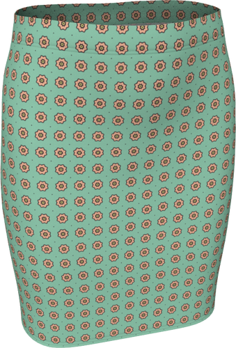 The Lindsay Fitted Skirt in Mint and Peach-Fitted Skirt-Clash Patterns by Jennifer Akkermans